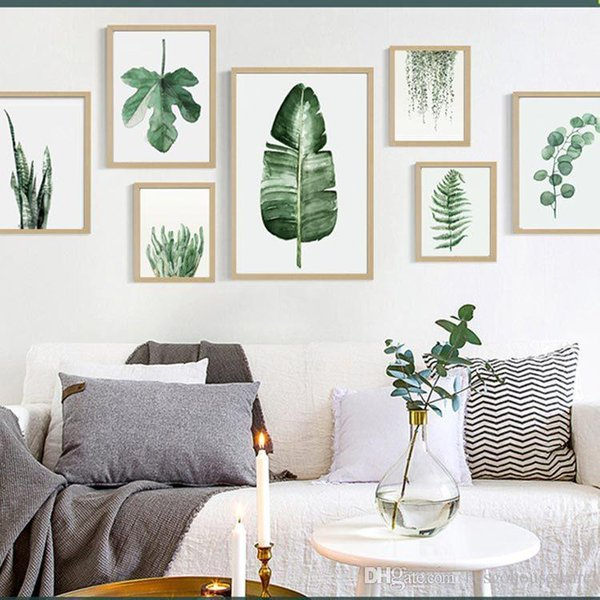 Green Plant Digital Painting Modern Sofa Wall Decorative Painting Picture Art Painted No Frame Painting Hotel Decoration Draw BC BH1496