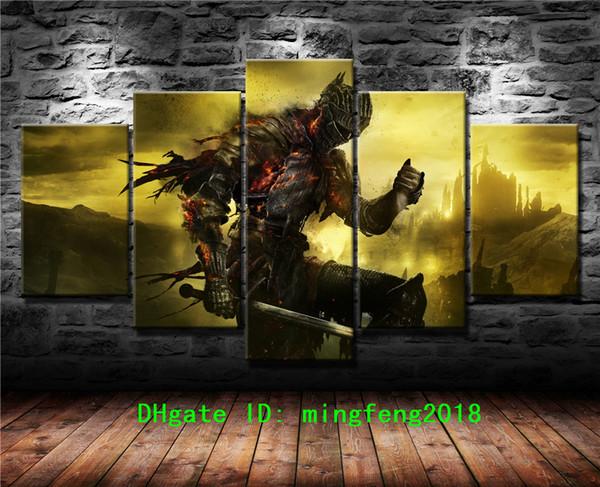 Dark Souls Iii, 5 pezzi Stampe su tela Wall Art Oil Painting Home Decor (Senza cornice / Incorniciato)
