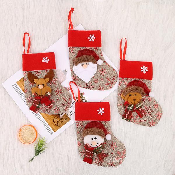 12 Pcs Merry Christmas Santa Socks Cute Ornaments Festival Party Hanging Candy Gift Bags Xmas Tree Decoration 6ZDZ769