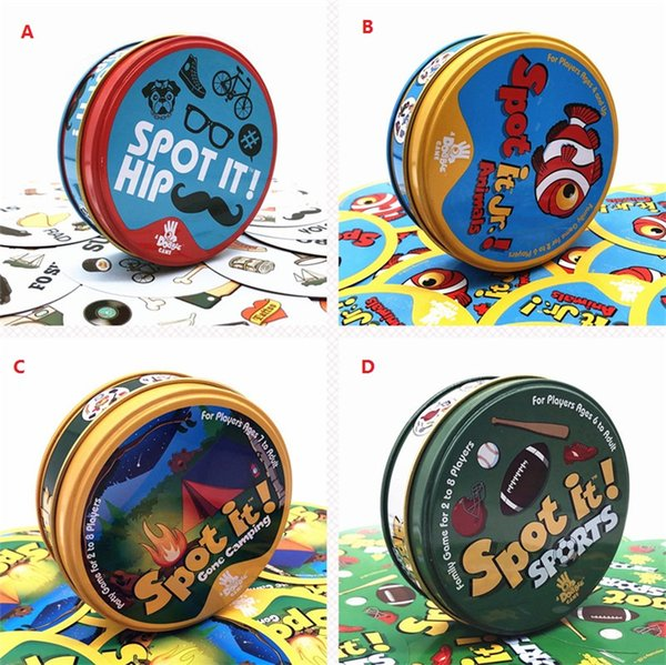 new Spot It Card Game Board Game for Children Magic Fun with Family party Gathering the Animals Paper Card Metal Box Free Shipping z309