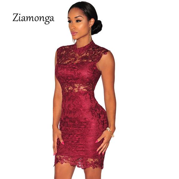 2019 nouvelle mode femmes élégante Bourgogne robe en dentelle noire Voir À travers Vintage Bodycon Bandage Robe Courte Soirée Sexy Robe 2368 Y19053001