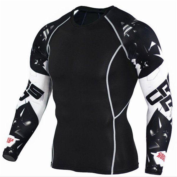 Camisas de compresión para hombre 3d lobo adolescente jerseys de manga larga camiseta de la aptitud de los hombres lycra mma crossfit t-shirts medias marca de ropa