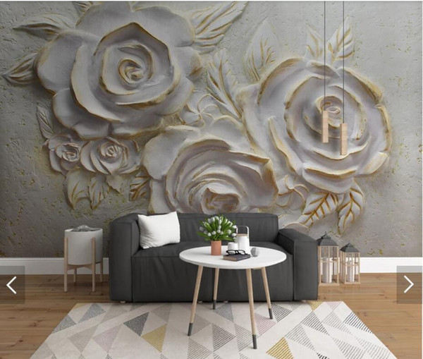 3D 8D European Vintage Embossed Gold Flower Wall Mural Photo Wallpaper Living Room Backdrop Wall Paper Roll Floral Murals