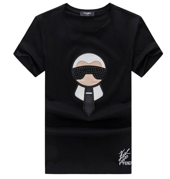 moda 2019Wholesale roupas boutique T-shirt em torno do pescoço camisa do verão de manga curta camisa-1307 dos homens bilionários dos homens T-shirt de algodão