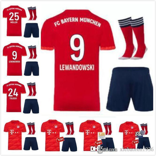 official photos b7aa2 7054a 2019 Bayern Soccer Jersey Kids Kit 19 20 FC Bayern Munich Home Red Soccer  Jerseys #25 MULLER #11 JAMES Child Soccer Shirts Uniform Jersey+Shorts From  ...