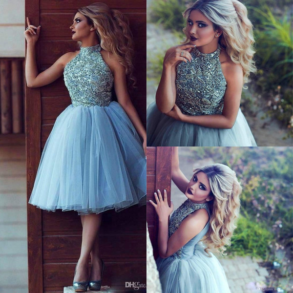 Sky Blue Sparkly Beaded Short Homecoming Dresses Cheap Mini Halter Tutu Cocktail Patry Dresses Prom Evening Club Wear