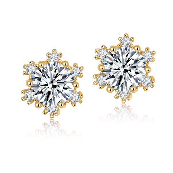High quality women's white crystal snowflake cubic zirconia earrings women's wedding party gift support wholesale 5-ER0247