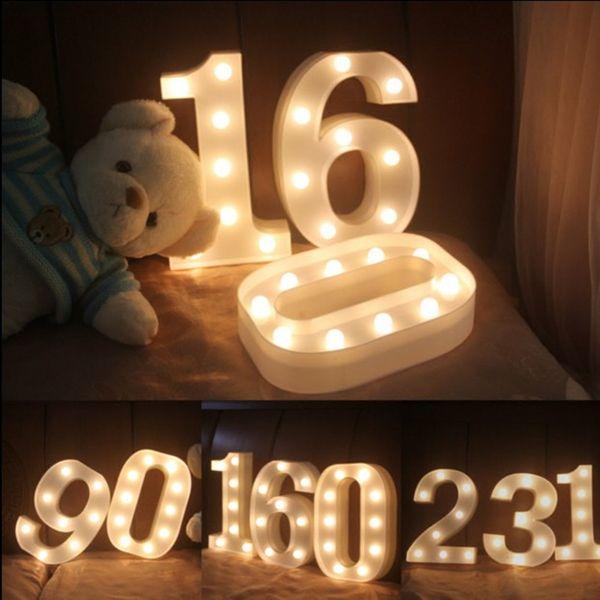 Número LED Luces nocturnas para niños Habitación Fiesta Cumpleaños LED Marquee Sign Lámparas nocturnas Funciona con pilas 3D Night Lights Número