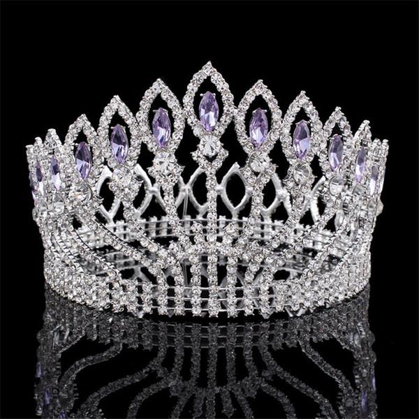 Luxuoso Espumante Barroco De Cristal Rainha Do Casamento Do Rei Tiara Pageant Pageant Prom Diadema Headpiece Cabelo Nupcial Jóias Acessórios T190620