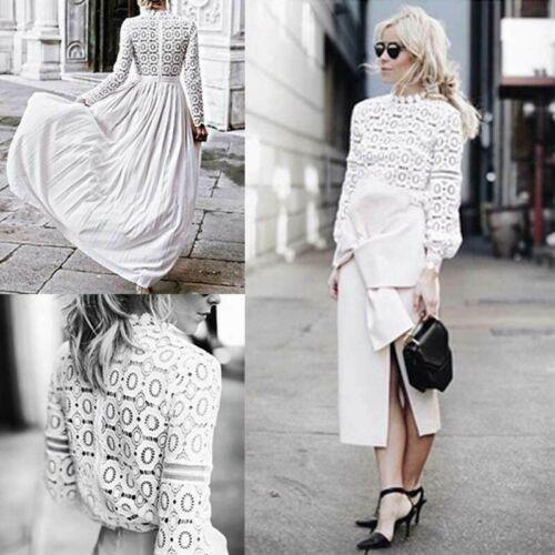hirigin sexy di modo supera per le donne maniche lunghe in pizzo camicetta camicia femminile Crochet Collo chiffon Shirt Top Casual Camicette