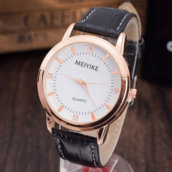Promotional leather watch straps wholesale thin watch men with cheap price with box