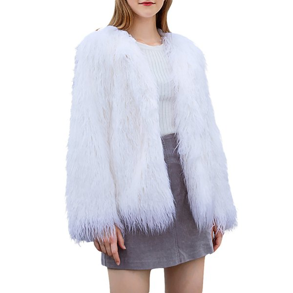 plus size faux fur coat women winter fur jacket white vintage plush lady warm fluffy jacket coats overcoat womens clothes 2019, Black