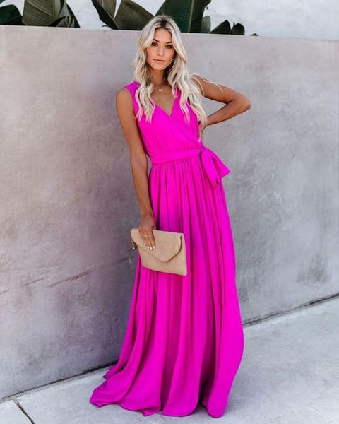 2020 V-cou de demoiselle d'honneur Party robes pour le mariage mancherons Drapée Zipper demoiselles d'honneur robe de bal du soir Parti Formal Robes Robes De
