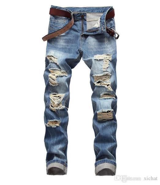gros jeans taille 2018 automne nouveaux jeans trou mote hommes pantalons en denim slim classique jeans jambe streight occasionnels taille de la livraison gratuite 28-42 TX408