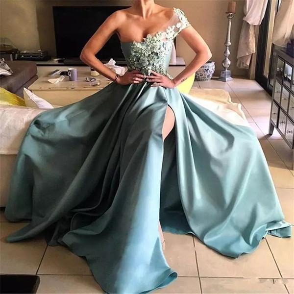 Ice Blue Split Evening Prom Dresses A Line One Shoulder Appliques 3D Petal Powers Beaded Long Satin Arabic formal celebrity evening Gowns