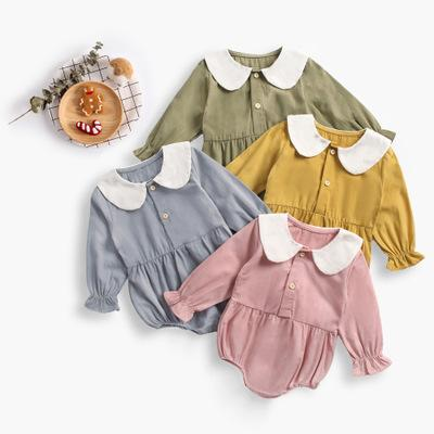 Boutique Ropa de bebé Manga larga Otoño Recién nacido Bebé niña Mamelucos Peter pan collar Voff Cuff Enfant Jumpsuit Primavera Invierno 100% algodón