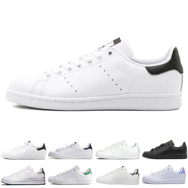 2019 Novo Designer Smith Sapatos Flats Mulheres Sapatos Casuais de Couro Dos Homens Zebra Flor Tripla Branco Preto Stan Skateboard Sneakers Esportes 36-44