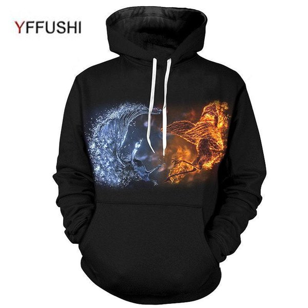 Yffushi Nice Male 3d Hoodies Fashion Fire And Ice Print Male /female Hoody Phoenix Print Summer Animal Sweatshirts Plus Size 4xl