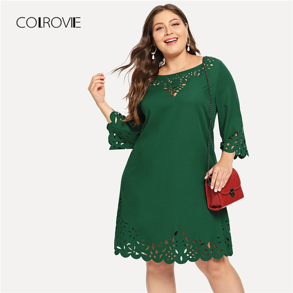 Wholesale Plus Size Green Solid Elegant Laser Cut Out Swing Lace Dress  Women 2018 Autumn Black Half Sleeve Office Mini Dresses Pink Dress Sundress  ...