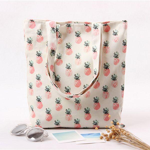 Casual Double-sided Large Capacity Shopping Bag Eco-friendly Women Girls Fruit Pattern Reusable Shopping Tote Bag Beach Handbag