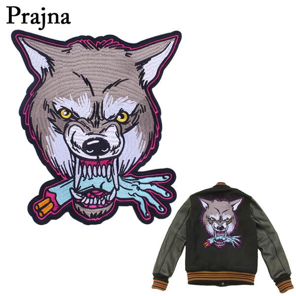 Prajna Wolf Head Parches de motociclista bordados grandes Motocicleta Parches de hierro en ropa Vaqueros Chaleco Chaqueta Espalda Punk Parche D