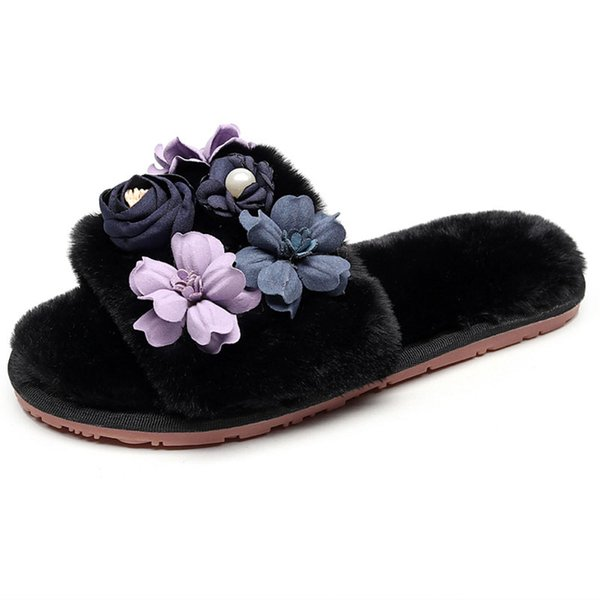 2019 New Women Slippers Korean Version Of Outside Autumn And Winter Flowers Cute Fur Slippers Indoor Warm Plush Cotton