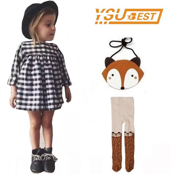 Baby Girls Long Sleeve Plaid Children Dresses Suit Baby Girls Dress Costume Kids Party Clothing+girls Leggings+fox Bag 3pcs Y19050602