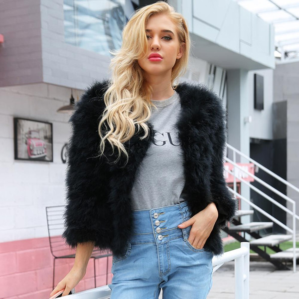 Fluffy Faux Fur Coat Women Short FurryCollarless Faux Winter Outerwear Black White Gray Coat 2018 Autumn Casual Party Overcoat