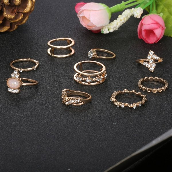 Women Pcs Vintage Rings Set Exquisite Elegant Rhinestone Alloy Rings Fashion Jewelry