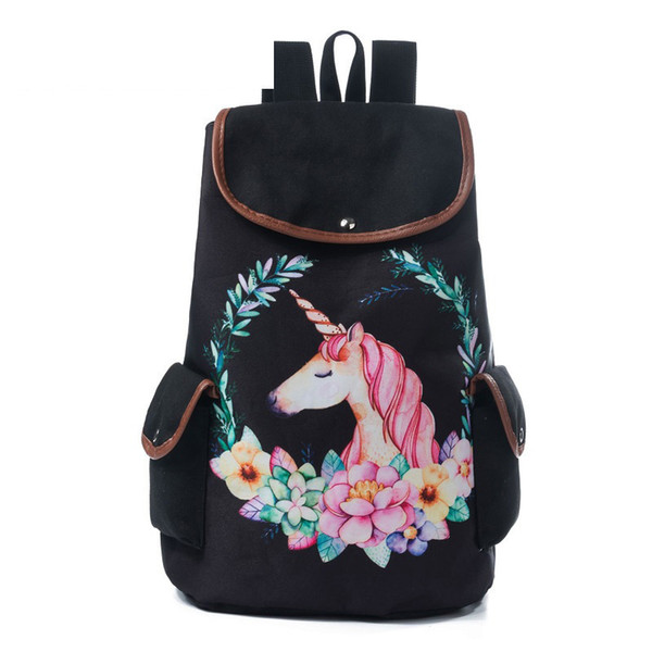 good quality Striped And Flamingo Print Backpack Women Fashion Cartoon Canvas Ladies School Backpack Drawstring Design Travel Bag