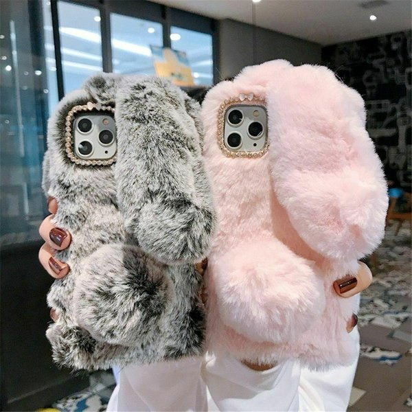 Eshop1 Plush Warm Phone Case For iPhone 11 Pro Max X XR Xs Rabbit Ears Furry Cover for iphone 6 7 8 plus shell