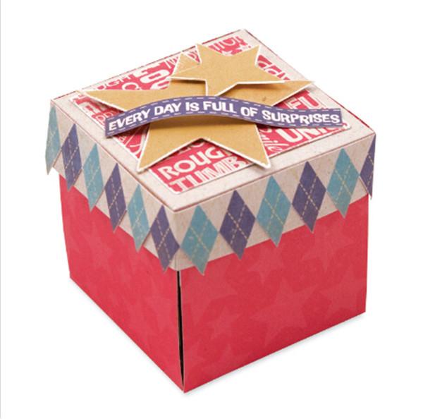 Taglio del metallo della scatola del regalo di grande dimensione 3D per scrapbooking Natale muore cartella di goffratura Stencil Album fotografico decorativo