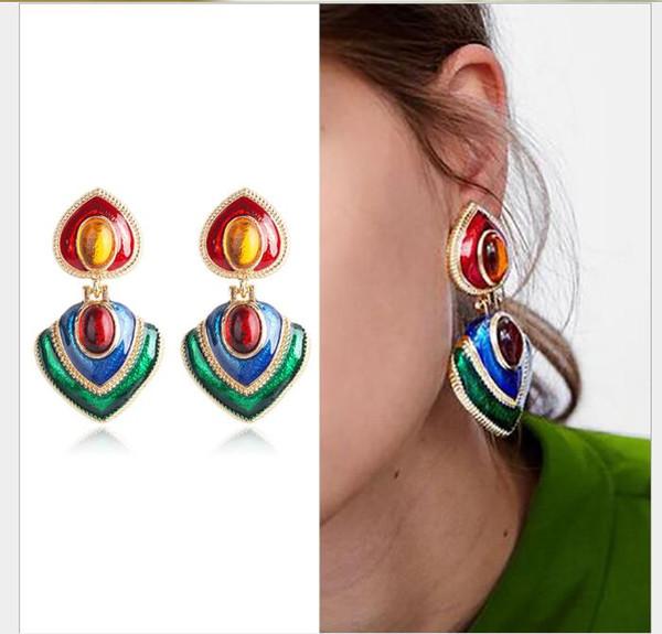 fashion earrings, fashion personality, fashion personality, multi-color love earrings