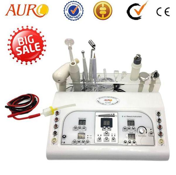 9 in 1 multifunction facial beauty machine cautery vacuum spray brush cleaning high frequency ultrasonic galvanic beauty machine AU-8208