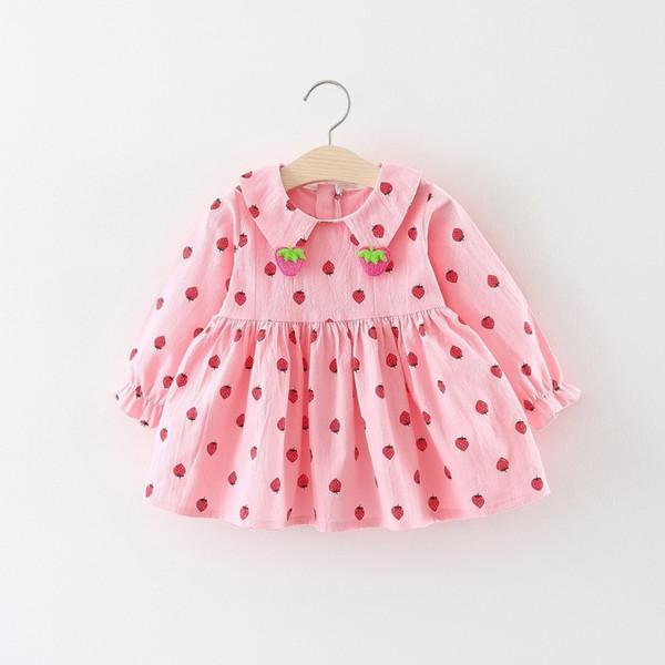 Gute qualität 2019 sommer herbst neugeborenes baby kleidet baby langarmkleid der niedlichen erdbeere muster für bebe lässige kleidung