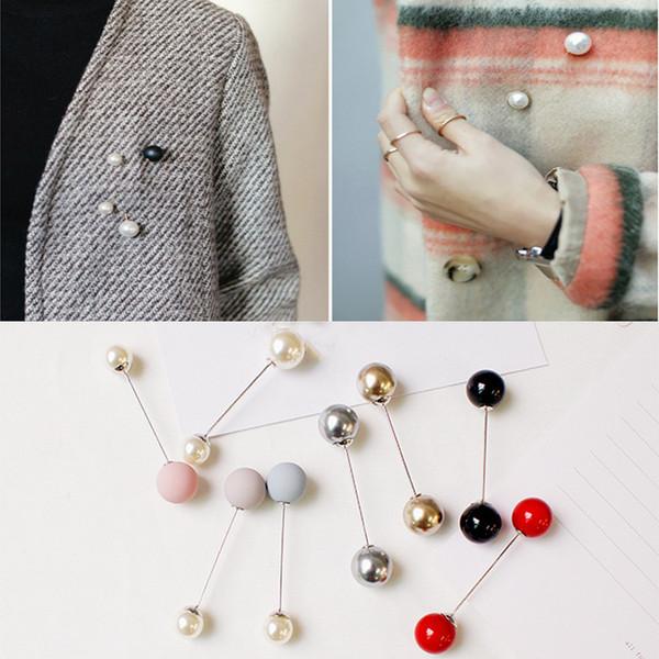 Pernos de broche de perlas de imitación Encanto clásico Accesorios de suéter de alta calidad Broches de perlas dobles simples Mujer Niña Joyería Regalo de Navidad