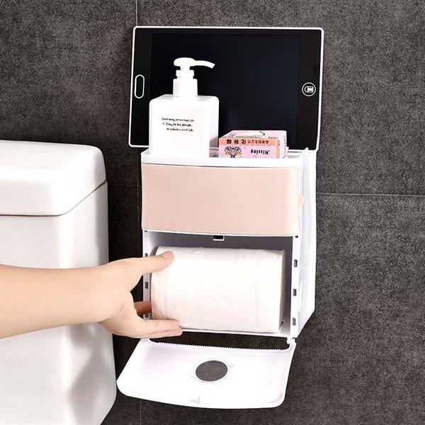 Caja de pañuelos impermeable para el baño Baño de plástico Papel higiénico Soporte de pared Caja de almacenamiento de papel montada No Trace Estante de doble capa