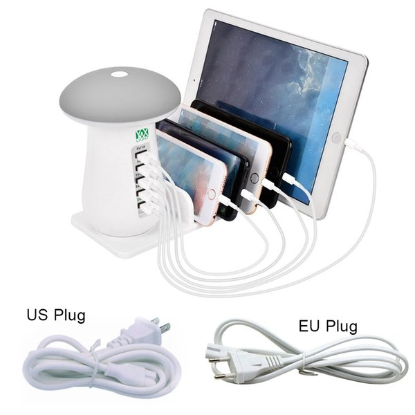 5 Port USB Rapid Desktop Charging Smart USB Wall Charger Hub Travel Charger With Night Light For Reading Desk Lamp