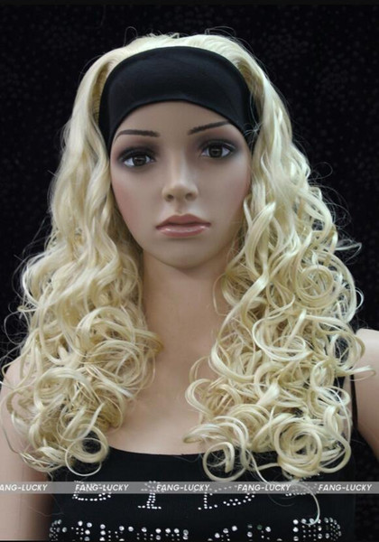 WIG FREE SHIPPING Hot heat resistant Party hair>>>>>Excellent Light Blonde Long Curly women Daily 3/4 half wig with headband