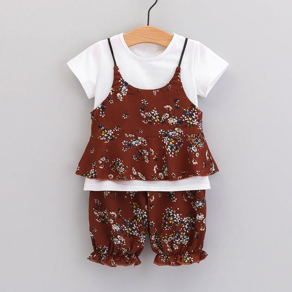 Crianças Roupas Definir Para A Criança Do Bebê Da Menina Sólida T-shirt Babados Floral Strap Vest Calções de Impressão roupa infantil Meninas Roupas de Verão