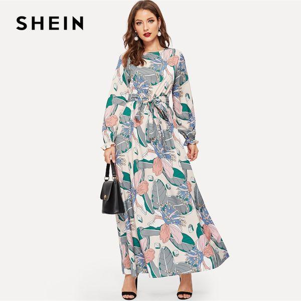 SHEIN Ojo de la cerradura Volver Cinturón Estampado de flores Cuello redondo Multicolor Una línea Vestido Abaya Office Lady Mujer Vestidos de manga larga