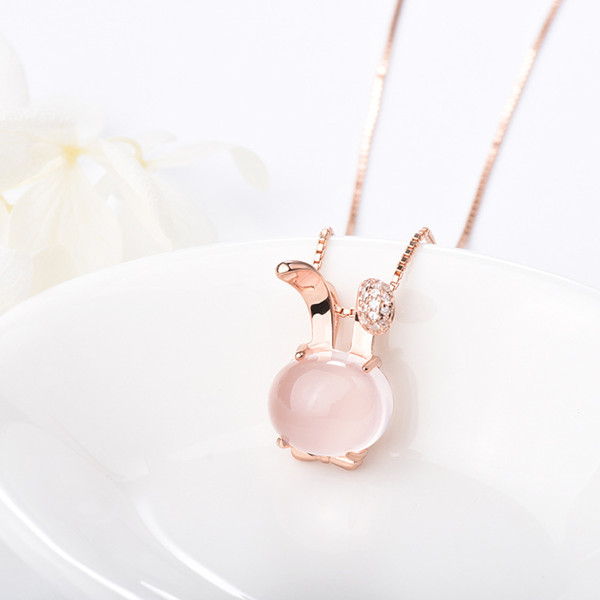 10 New Cute Smart sign small rabbit Choker cat Feline pet pendant chain necklace 3D Crystal anime animal bunny Pendant hare Necklace jewelry