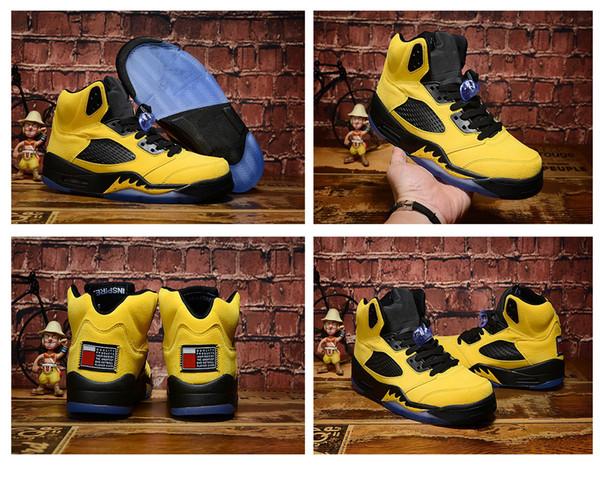 Trophy Room 5s Ice Blue Men 2019 Баскетбольные кроссовки 5 Laney Michigan Желтая атласная порода Красно-синие замшевые PSG Черные дизайнерские спортивные кроссовки