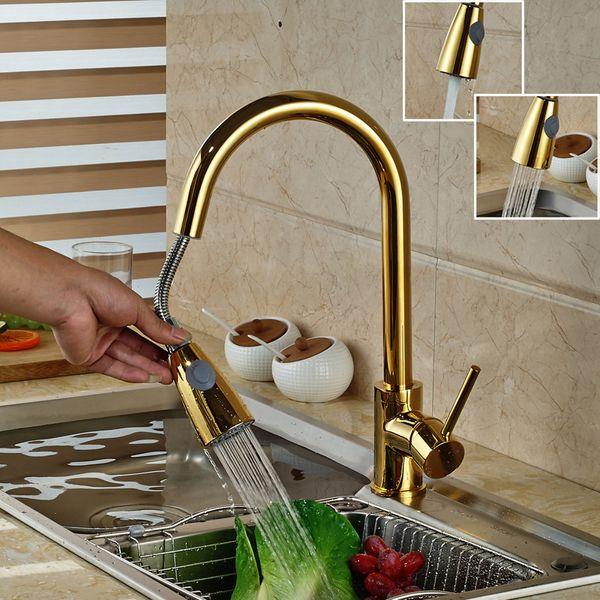 Lujo Golden Handheld Sacar la cocina Grifo de la cubierta Montado 360 Giratorio Mezclador de cocina Grifos calientes y fríos Rociador de flujo Boquilla