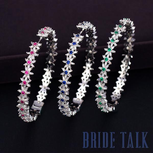 Novia Hablar Marca de moda de lujo Mujer Clásico Pendientes de moda Brillante Estrellado Colorido Piedra preciosa Envío gratis Mejor vendedor