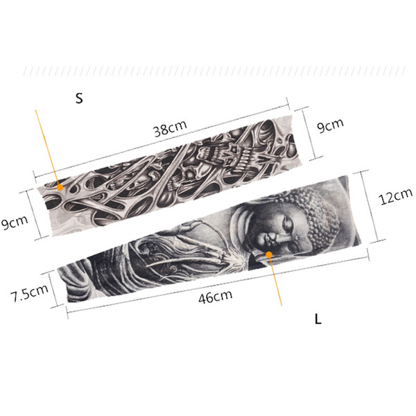 Fashion Nylon Tattoo Sleeves Arm Warmer Unisex UV Protection Outdoor Temporary Fake Tattoo Arm Sleeve Warmer Sleeve SD98