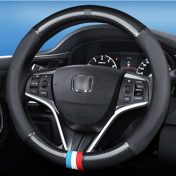 15 inch Carbon Fiber Leather Car Steering Wheel Cover upgrade For Honda civic