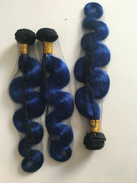 Ombre Blue Human Hair Bundles Two Tone Color 1b Blue brazilian Virgin Hair Body Wave Human Hair Weaves 3pcs lot