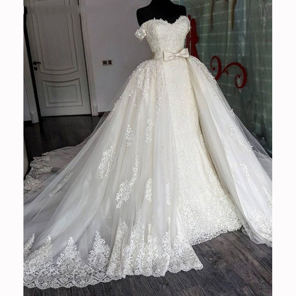 Luxury Lace Mermaid Wedding Dress with Detachable Train Bow Off the Shoulder Appliques Arabic Bridal Wedding Gowns Plus Size wedding Gowns