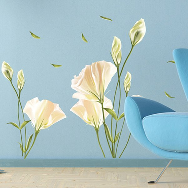 New 3D Lily Flowers Wall Stickers Home Decor Living Room Bedroom TV Sofa Wall Art Mural PVC DIY Removable Poster Wallpaper
